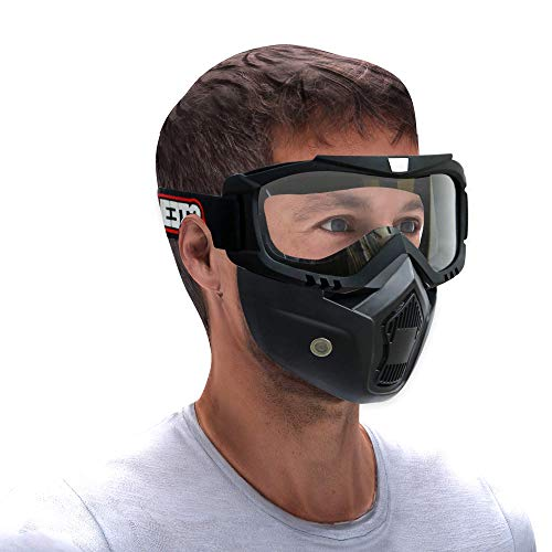 Steelbird 7Wings 3 in 1 Face Shield,Goggles with Detachable Mask, Full Face and Mouth Protection Suitable for Every Use (Pack of 1, Clear Visor)