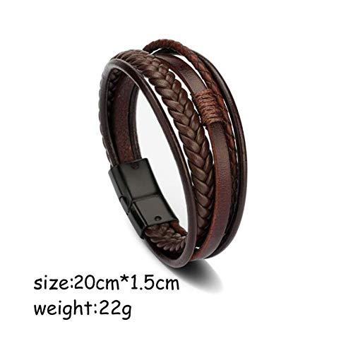 KJFUN Heren Lederen Armband Armbanden Heren Magnetische Sluiting Koeienhuid Gevlochten Meerlaagse Wikkelarmband Man