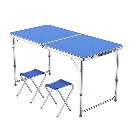 Table Pliante portative de 4FT 1.2M et réglage de la Chaise à 3 Vitesses 70/60 / 55cm pour Barbecue en extérieur et en extérieur -LJ Jing Shop (Couleur : Blue-1)