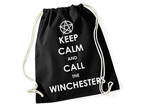 Tachinedas Kreativshop Turnbeutel Rucksack Supernatural mit Spruch Keep Calm