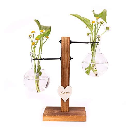 Hydroponik Glasvase - Dekovase und Pflanzenvase Glasvase Deko Holz Halter Vasen für Innen,Büro,Wohn und Café-Dekoration