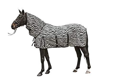 HKM Fliegendecke mit Halsteil -Zebra- mit Bauchlatz, weiß/schwarz, 145