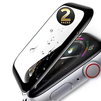 Apple Watch Series 3/2/1 Screen Protector 42mm Tempered Glass (2 Pack) Anti Scratch, Bubble Free, 9H Hardness 3D Curved, Black Edge Touch Screen Protector for Apple iWatch 42mm