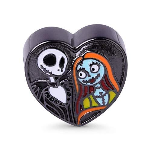Gnoce Gothic Love Black Skull Bride Charm Bead Cuentas en Forma De Corazón Charm Silver Sterling Se Adapta a Todas Las Pulseras y Collares Regalo Para Mujeres Niñas Hombres