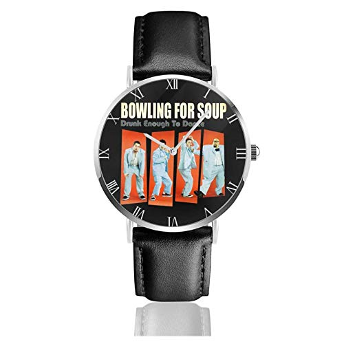 Armbanduhr Analog Quarz Ultra Dünn Business PU Leder Band Uhren Bowling für Suppe