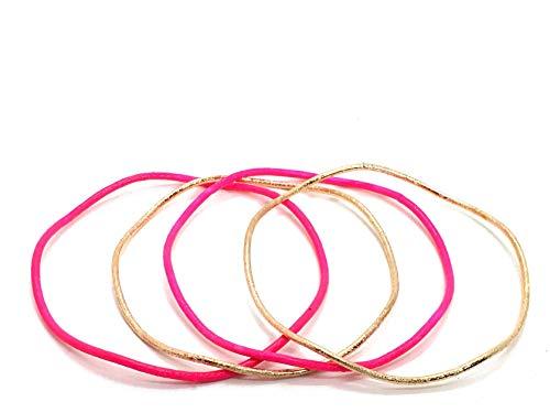 4teiliges Modeschmuck Armreif Set neon gold welle 1cm breit (Pink)