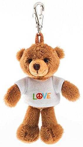 Schaffer 2529 Teddy mit T-Shirt Love Anhänger, unisex-child, Braun, ca. 11 cm