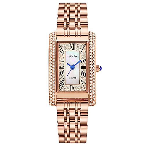 RORIOS Women Watches Waterproof Analogue Quartz Watch with Stainless Steel Strap Fashion Diamond Wristwatch Roma Numbers Ladies Watch
