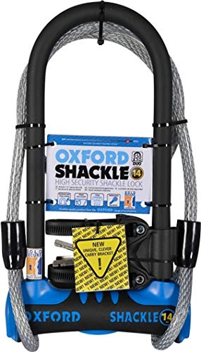 Oxford Unisex's Shackle 14 Duo U-Lock, Blue, 320 mm x 177 mm