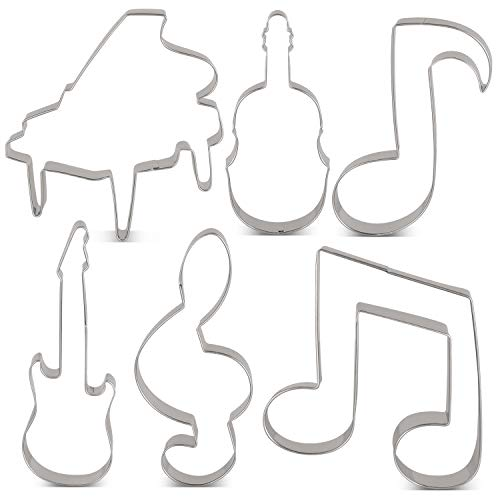 KENIAO Music Cookie Cutter Set – 6 piezas – Violín, Piano, Guitarra...