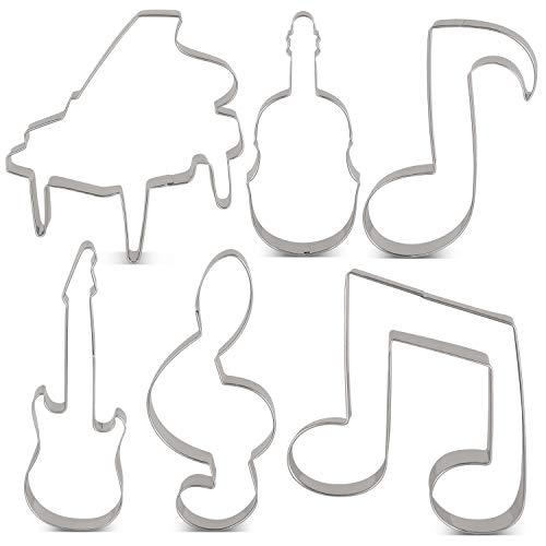 KENIAO - Juego de 6 cortadores de galletas, violín, piano, guitarra eléctrica, nota de música, clave G y octavo nota de galleta - Acero inoxidable