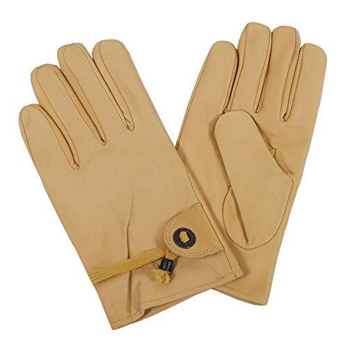 Western-Fingerhandschuhe, beige, Leder, Bandzug, gefüttert, Größe M