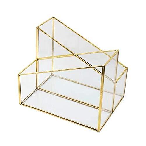 Nvshiyk Halter für Zeitungsständer Einfache Magazine Rack-Copper Bar Glas Desktop Storage Box Briefpapier-Feder-Halter-Speicher-Rack Ausgezeichnete Stabilität (Farbe : Gold, Size : 25.3x9.5x20.2cm)