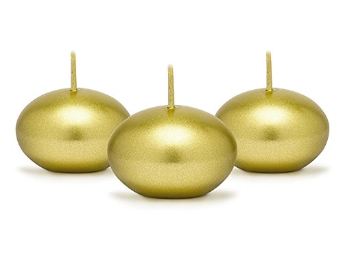 SiDeSo® 5 Stück Schwimmkerzen 40mm viele Farben (gold metallik)