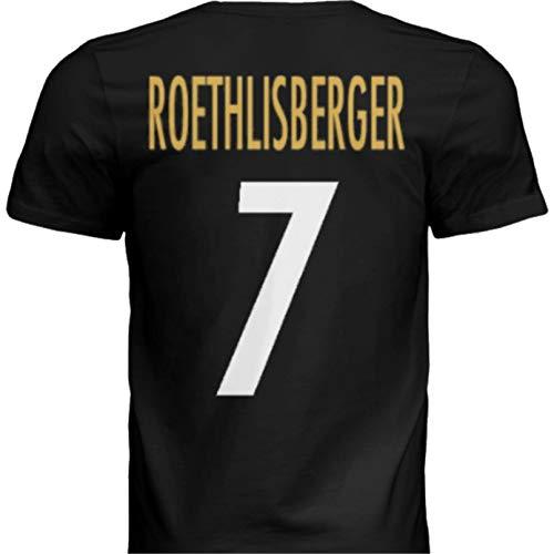 NWT New Roethlisberger #7 Pittsburgh Black Custom Screen Printed Football T-Shirt Jersey No Brands/Logos Men's (Medium)