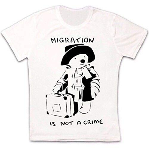 Migration is Not A Crime Paddington Bear Gift Retro Banksy Unisex T Shirt-L,White/Women's
