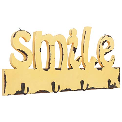 Perchero de Pared Smile 50x23 cm MDF Amarillo para Varios Abrigos, Perchero de Pared con Ganchos para Bolsos, Abrigos, Paraguas, Collares, Llaves