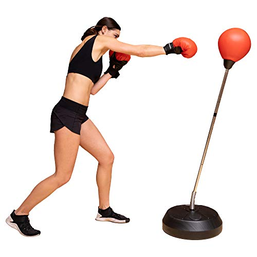 Protocol Punching Bag with Stand - for Adults & Kids - Punching Bag with Stand Plus Boxing Gloves -...