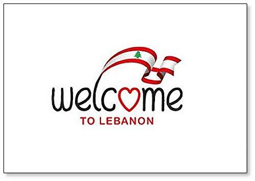 Kühlschrankmagnet, Motiv: Welcome to Libanon mit Flagge