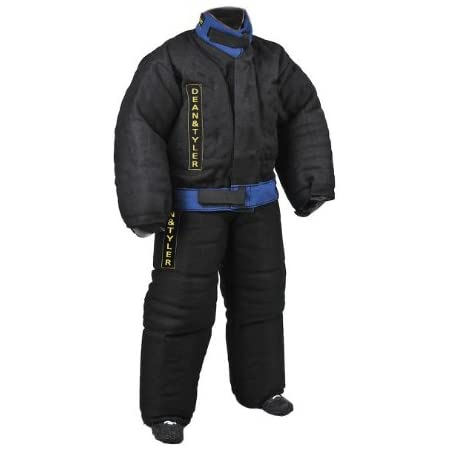 Dean and Tyler Full Protection Bite Suit, Strong French Linen - Black/Blue - Size: XX-Large (H: 5.10 to 6.2-Feet, W: 154 to 165-Pounds)