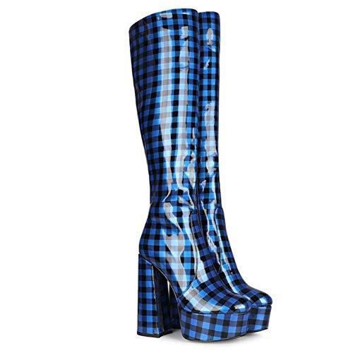 Europese stijl dikke hak overknee laarzen, 14,5 cm in hoogte, stretch Houd warme teen mouw laarzen voor herfst winter,A,37