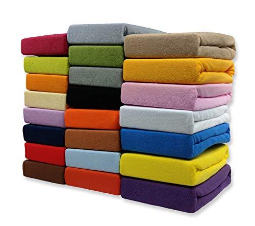 FROTTEE Spannbettlaken Spannbetttuch Bettlaken mit Gummizug in vielen Größen und Farben (Beige, 180 x 200 cm)