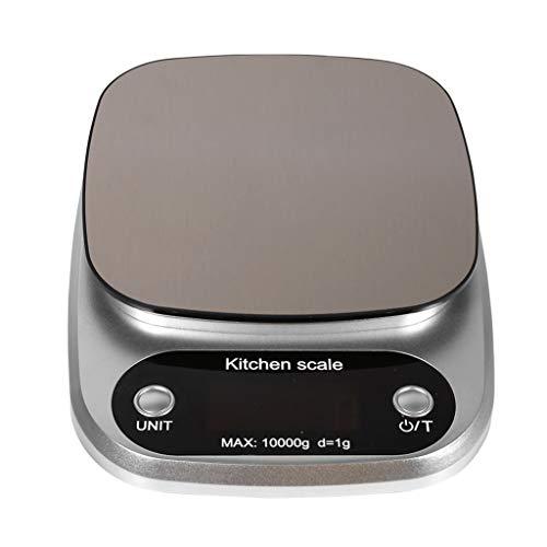 Mjd Scales Keukenweegschalen Voedsel Bakgewicht Digitale LCD Elektronische weegschaal 10kg(zilver) Badkamerschaal