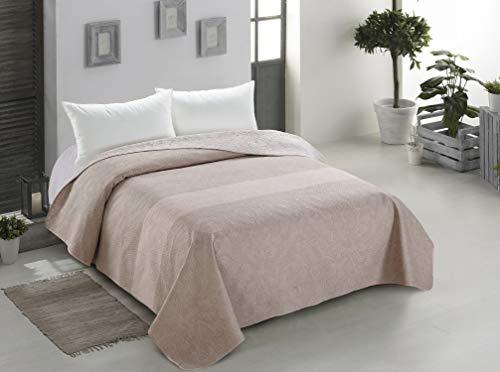 AmeliaHome 00035 Tagesdecke 200x220 cm Bettüberwurf zweiseitig Steppung leicht zu pflegen beige Cappuccino Decor