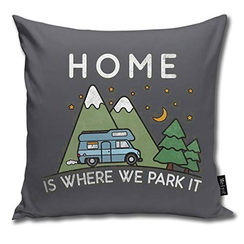 QMS CONTRACTING LIMITED Throw Pillow Cover Camping Home Is Where We Park It Campervan Gift Decorative Pillow Case Home…