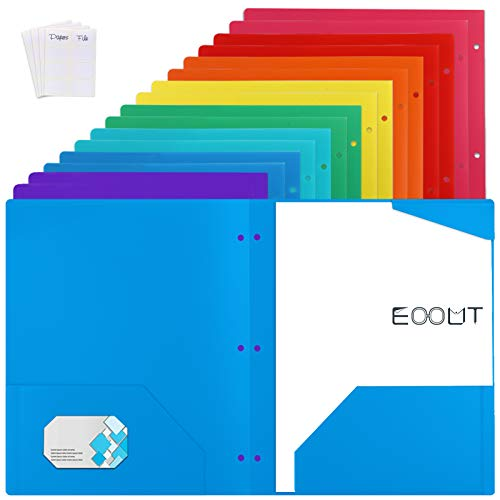 EOOUT 16pcs Plastic Pocket Folders, 3 Hole Punch Pocket Folders with 2 Business Card Slots, 9.5 x 11 inch, Multicolor, with 3 Stickers, for Students/Office Supplies
