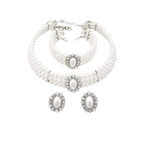 Fashion 21 3 Rows Rhinestone Trimmed Simulated Pearl Choker Necklace, Bracelet, Pierced Earring 3 Set white