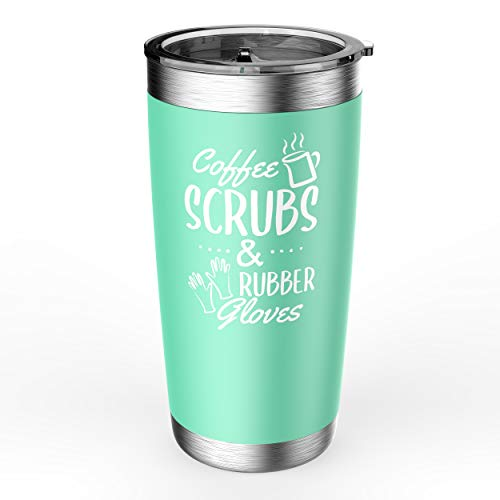 Funky Gifters Nurse Gifts - Coffee Scrubs & Rubber Gloves Nurse Gift Stainless Steel Tumbler - 20oz Double Wall Insulated Stemless Tumbler For Woman - Gifts For Nurses, Nursing Students, Graduation