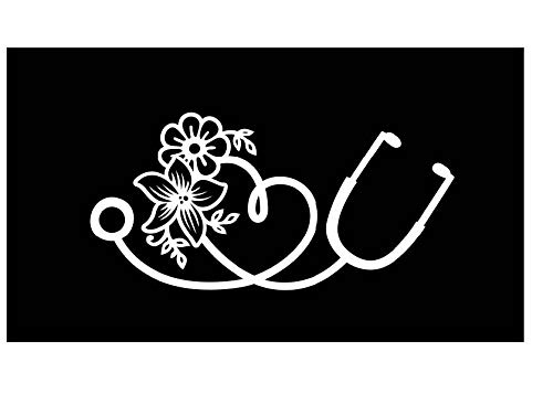 Heart Stethoscope Flower Vinyl Decal | White | Made in USA by Foxtail Decals | for Car Windows, Tablets, Laptops, Water Bottles, etc. | 5.5 x 2.7 inch