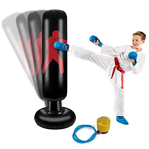 Nasjac kids boxing bag, Inflatable punching bag for kids, 61in Boxing Punch Bags, Fitness Training Tower Bag for Energy Releasing, Punching Bag with a Free Foot Air Pump for Practicing Karate
