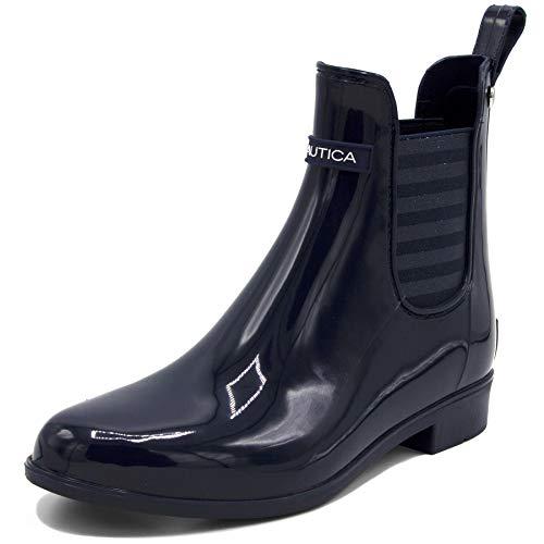 Nautica Ladies Windsail Womens Low Shaft Ankle/Mid Calf Gore Bootie Waterproof Rain Boot-Cliff Port Lurex-Navy Lurex Stripe-8