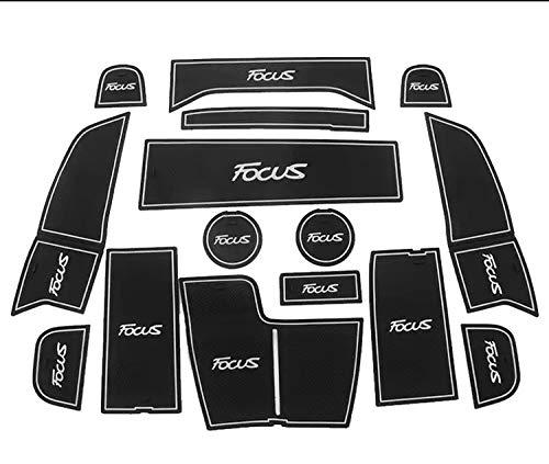 para Focus2012-2014 2019-2020 Alfombrilla de Ranura para Puerta dedicada Almohadilla de Copa Antideslizante Accesorios Decorativos Interiores Estilo Cojines de Ranura para Puerta (White 19-20)