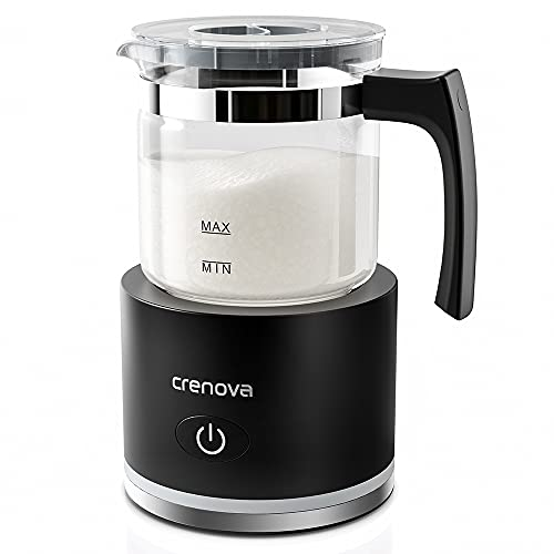 Crenova Milchaufschäumer Induktions, Milchaufschäumer elektrisch & Steamer mit 4 Modi, automatischer Heiß- & Kaltschaumbereiter für Cappuccino, Latte, heiße Schokolade, Matcha, Frappe (250ml)