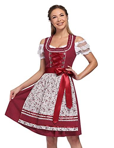 KOJOOIN Trachtenkleid Damen Dirndl - Midi Trachtenkleid Kleid für Oktoberfest - DREI Teilig: Kleid, Bluse, Schürze Weinrot-Blumen 36/M
