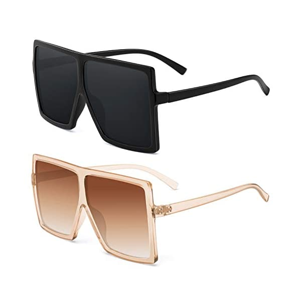Square Oversized Sunglasses For Women – FEIDU Trendy Fashion Sunglasses For Women Men Celebrity/Flat Top Shades 2020 Update