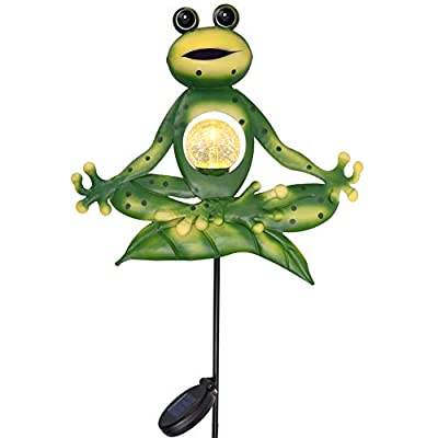 TERESA'S COLLECTIONS 35 inch Frog Solar Garden Lights Stakes,Sitting Yoga Frog Garden Statues with Crackle Glass Ball for Outdoor Patio Yard Decorations