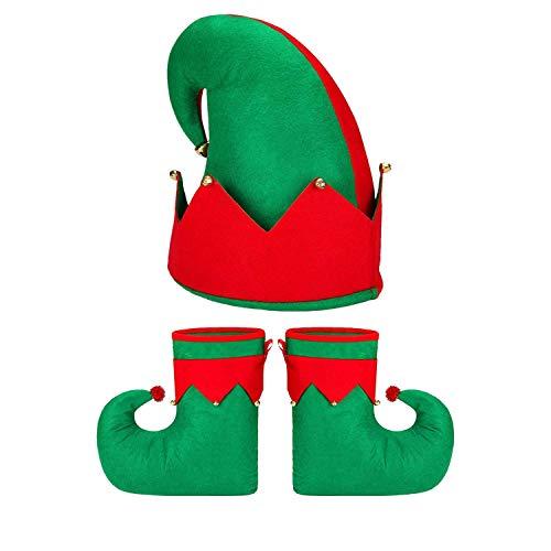KBNIAN Zapatos y Sombrero de Elfo Talla Grande Disfraz de Duende Navideño Bailarín y Cantando Sombrero y Botas de Fieltro Santa Elfo con Campanas para Adultos Hombres Mujeres (verde, rojo)