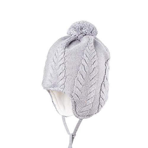 pure pure Baby und Kleinkind Bommel-Mütze mit Zopfmuster aus Bio-Wolle und Bio-Baumwolle, Grau Gr. 39/41