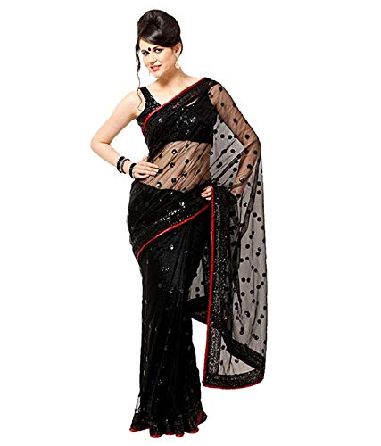Netal Designer Women's Plain Weave Net Saree with Blouse Piece (RKNRKABLK, Black)
