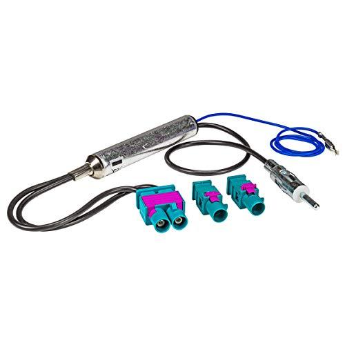 tomzz Audio 1503-007 Doppel Fakra Antennenadapter mit Phantomeinspeisung kompatibel mit Audi Seat Skoda VW Citroen Peugeot Opel auf DIN