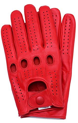 Riparo Herren Leder Auto Autohandschuhe Vollfinger Lederhandschuhe (M, Rot)