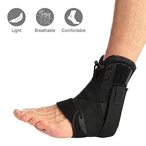 Fußbandage Knöchelbandage Fußgelenkstütze Unisex Knöchel-Stabilisator,Ideal für Laufen, Fußball, Badminton und Tennis hilft, Verstauchungen vorzubeugen oder Sich Davon zu erholen Schwarz (L)