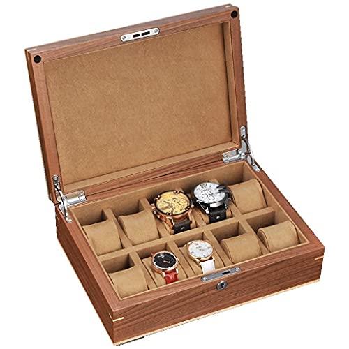 BNFD Caja De Almacenamiento - Caja De Reloj para Hombres Gabinete De ExhibicióN De 10 Ranuras, Hebilla De Metal con Una Tapa De Estilo Moderno De Madera