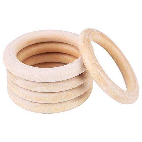 10er Set Beißring Holz Bio,Basteln Holzringe Beiss Kreis Kinderkrankheiten Spielzeug Glatt Geschenk Außen- und Innendurchmesser: 7cm, 5cm