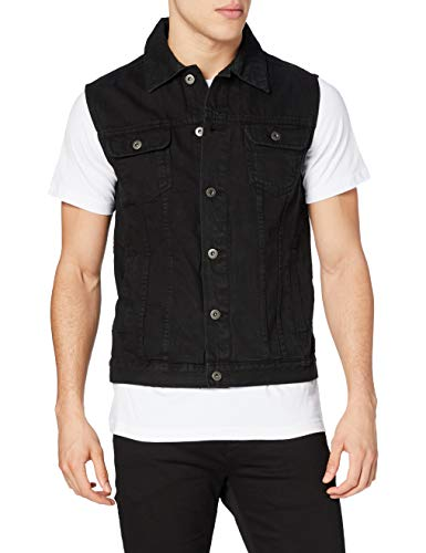 Urban Classics Herren Denim Vest Weste, blackdark, Small