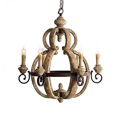 Candelabro retro francés en color blanco envejecido de metal óxido E14 estilo vela candelabro para sala de estar comedor bombillas colgantes